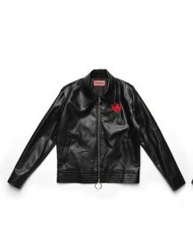 Jaebum wearing 17SS red rose Leather Jacket.