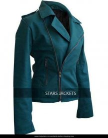 Leather Skin Sea Green Women Ladies Brando Style Synthetic Leather Jacket.