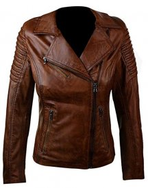 New Woman's Slim & Fit Brown Genuine Real Leather Biker Jacket