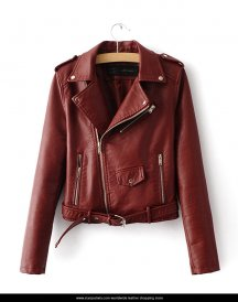 Woman Slim-Fit-Motorcycle-Zipper Jacket