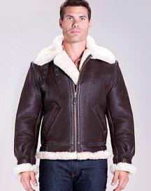 Classic B-3 Sheepskin Leather Bomber Brown Jacket