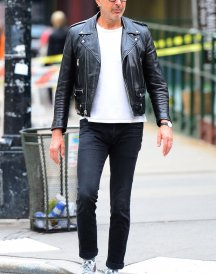 Jeff Goldblum Black leather Biker Jacket