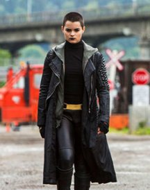 Brianna Hildebrand Black Leather Coat in Deadpool 2