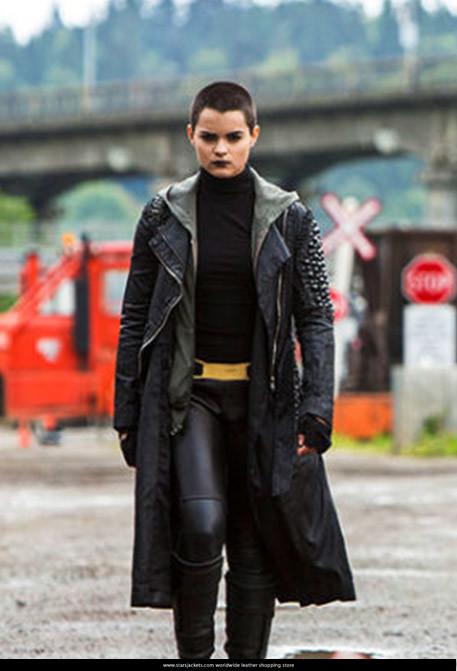 Brianna Hildebrand Black Leather Coat in Deadpool 2