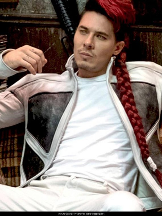 Lewis Tan as Shatterstar White leather Jacket in Deadpool 2