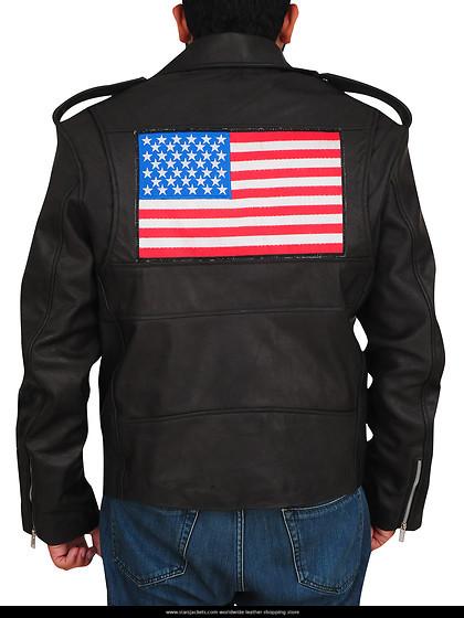 AMERICAN FLAG BLACK BIKER JACKET