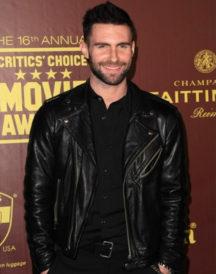 Adam Levine Black Leather Motorcycle Jacket