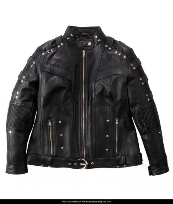 Katie-Cassidy-Arrow-Black-Studded-Jacket