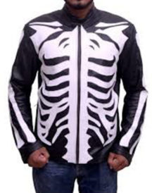 Skeleton Sketch Men's Black Motorcycle Jacket