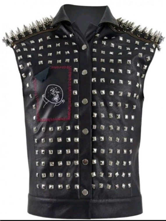 Watch Dog Punk Gaming Black Leather Vest