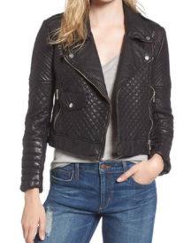 Women Biker Black Lambskin Jacket