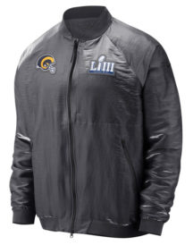 Angeles Rams Nike Gray Super Bowl LIII Bound Media Night Bomber Jacket