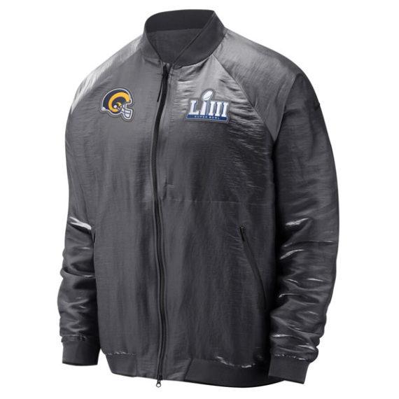 Angeles Rams Nike Gray Super Bowl LIII Bound Media Night Bomber Jacket