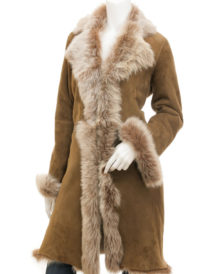 Toscana Shearling in Taupe Madison Coat