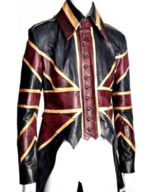 UK Flag Vintage Union Jack Tail Leather Coat