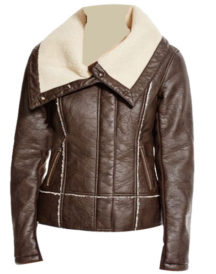 Vegan Leather Jacket With Sherpa Collar in Brown Jacket