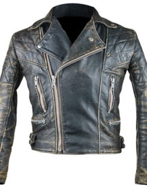Vintage Café Racer Retro 2 Motor Cycle Antique Black Distressed Biker Jacket