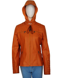 Women's Removable Hooded Brown Jacket