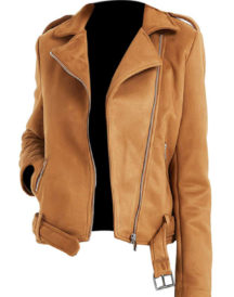 Women Brown Silver Leather Jacket