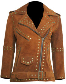 Women Brown Silver Studded Brando Jacket