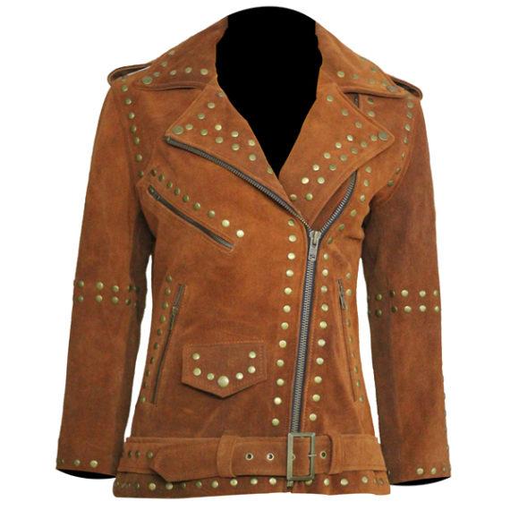 Women Brown Silver Studded Brando Jacket