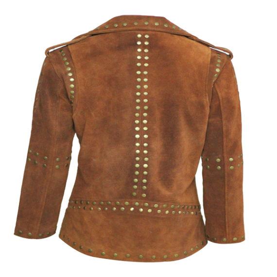 Women Brown Silver Studded Brando Leather Jacket