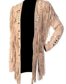Women Western With Fringes Beads And Bones Jacket