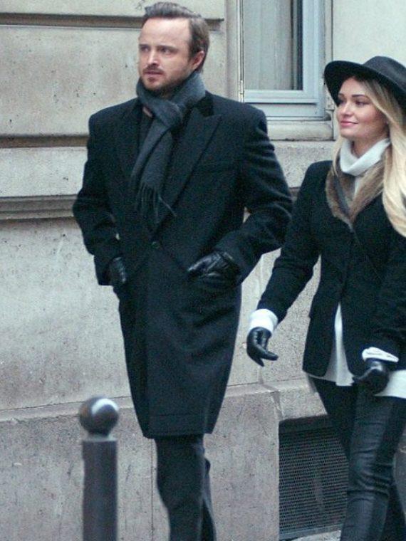 Aaron Paul Paris Stylish Wool Trench Black Coat