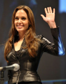 Actress Angelina Jolie Black Leather Jacket