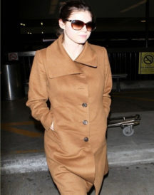 Alexandra Daddario Brown Coat