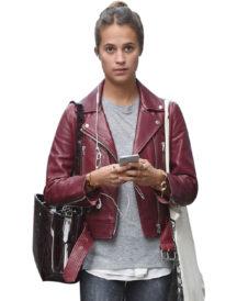 Alicia Vikander Stylish Brown Leather jacket