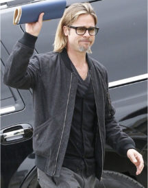 American Actor Brad Pitt Bomber Cotton Jacket
