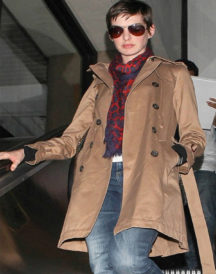 Anne Hathaway Double Breasted Trench Coat