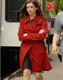 Anne Hathaway Street Wear Red Coat
