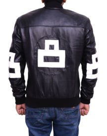 Mens 8 Ball Bomber Supreme Leather Black Jacket