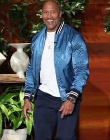 Dwayne Johnson Satin Varsity Jacket
