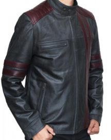 Elegant Burgundy Stripes Biker Jacket