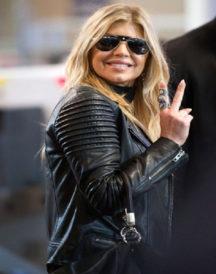 Fergie Padded Black Leather Jacket