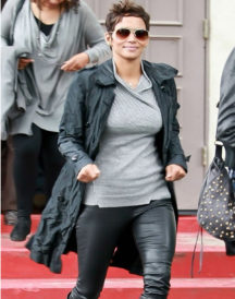 Halle Berry Black Leather Trench Coat
