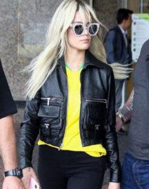 Halsey DescriptionAshley Nicolette Leather Jacket
