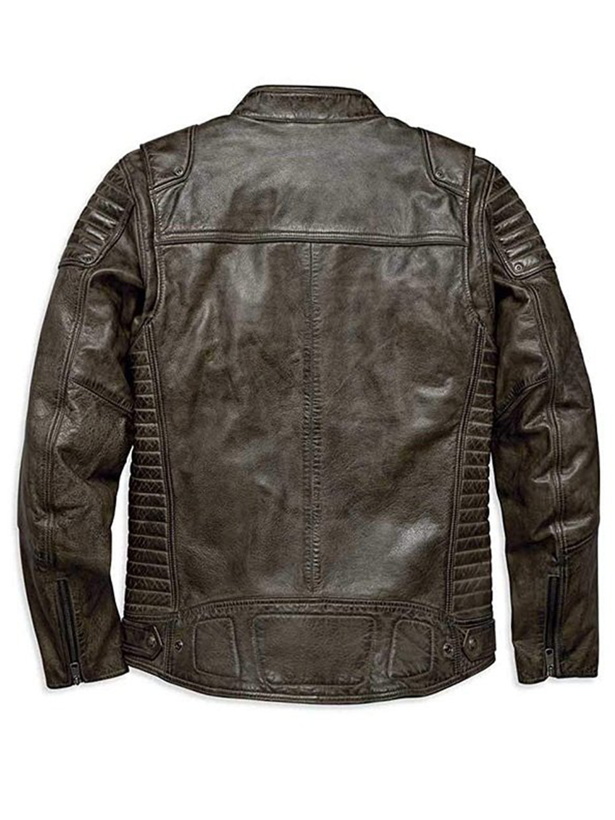 Harley Davidson Waxed Brown Leather Jacket - Stars Jackets