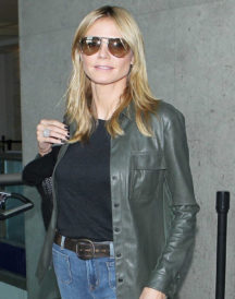 Heidi Klum Shirt Style Leather Jacket