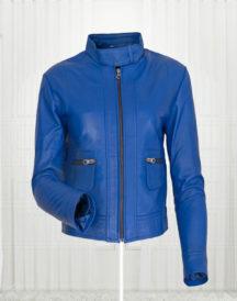 Agusta Women's Fashion Leather Blue Jacket