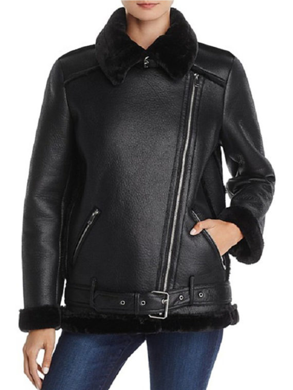 Lesley-Ann Brandt Shearling Leather Jacket
