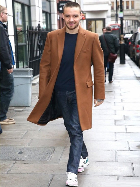 Liam Payne Street Fashion Brown Coat