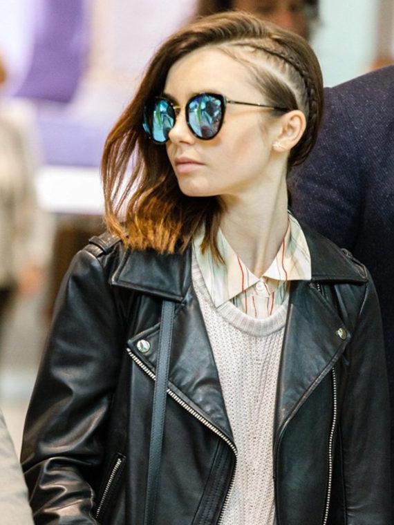 Lily Collins Biker Leather Jacket