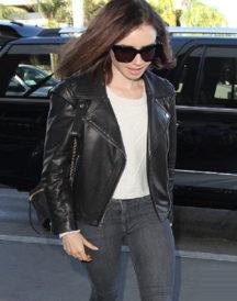 Lily Collins Bold Black Jacket
