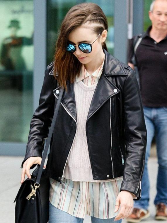 Lily Collins Brando Biker Jacket