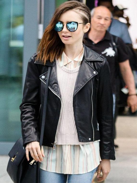 Lily Collins Brando Biker Leather Jacket
