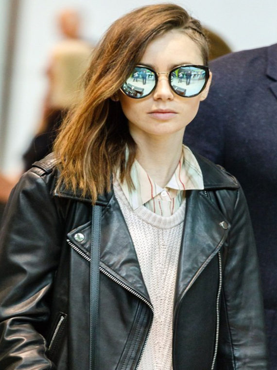 Lily Collins Brando Leather Jacket